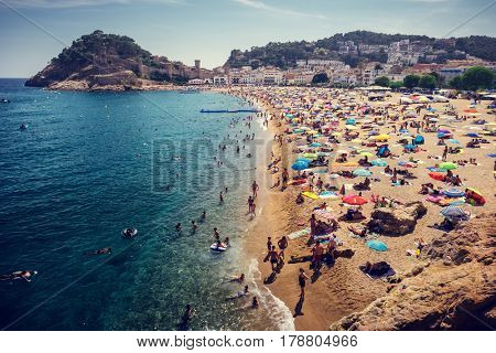 Central beach of the city of Tossa de Mar