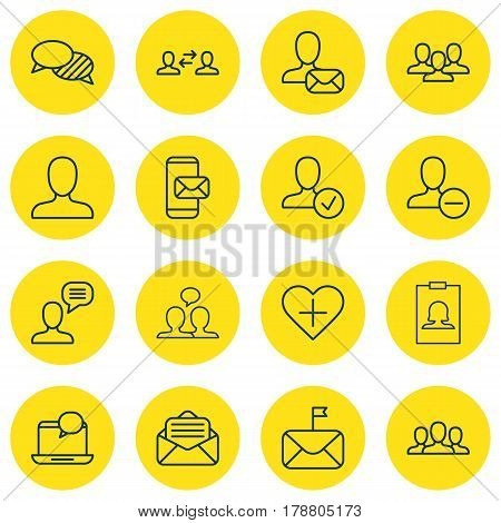 Set Of 16 Communication Icons. Includes Favorite Person, Mail Notification, Read Message And Other Symbols. Beautiful Design Elements.