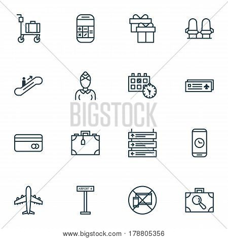 Set Of 16 Transportation Icons. Includes Armchair, Suitcase Pushcart, Moving Staircase And Other Symbols. Beautiful Design Elements.