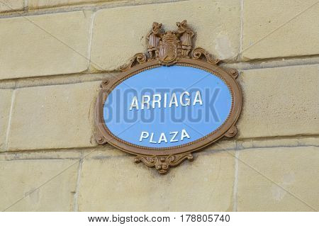 The Arriaga Square Street Sign.