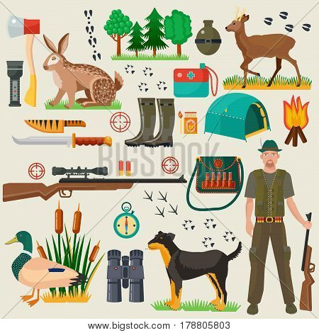 Hunter tourist man male tools and equipment stuff items set. Cartoon flat Hunting hunters icons collection