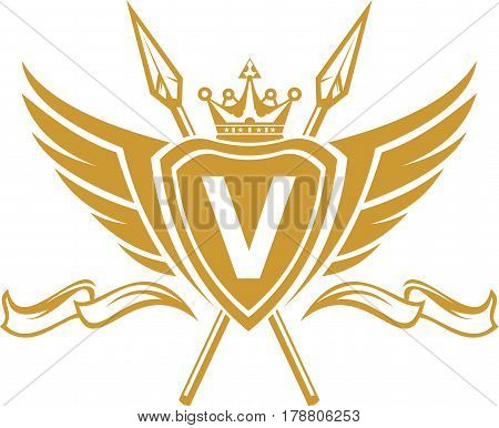 logo illustration emblem letter on shield with wing, lance, crown