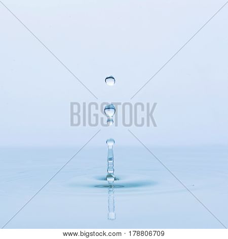 Blue water drop falling down for background