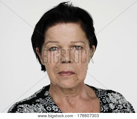 Senior woman portrait staring face