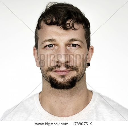 Man with beard and mustache casual studio portrait