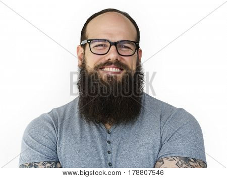 Man mustache smiling studio portrait