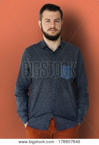 Man Portrait Face Serious Expression