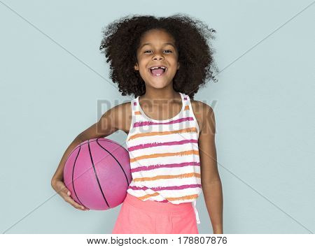 Little Girl Smiling Happiness Basketball Sport Portrait