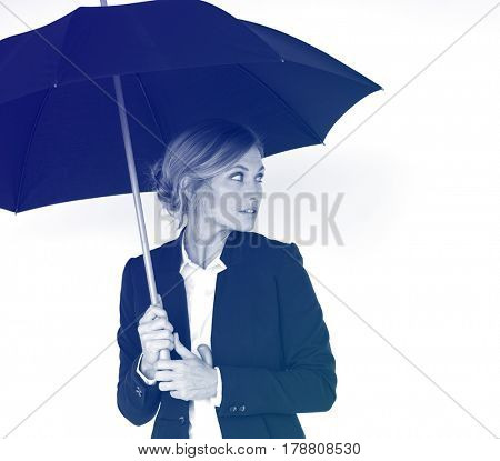 Business Woman Hands Hold Umbrella Protection Studio