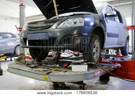 Kaluga, Russia - March, 23, 2017: Car in a body shop
