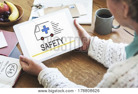 Emergency Ambulance Vehicle Health care Icon Word
