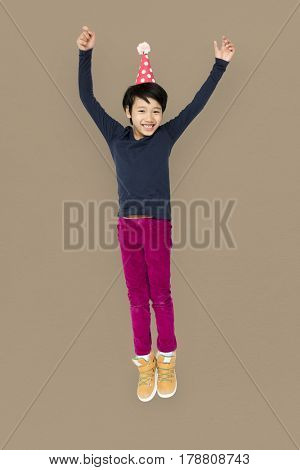 Little Boy Jumping Enjoy Happiness Cheerful Studio Portrait