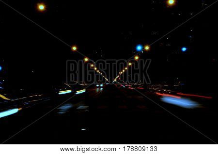 Street Scene of car lights at night