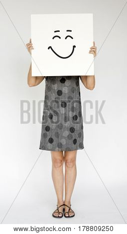People Faces Covered with Happy Expression Emotion Paper Board