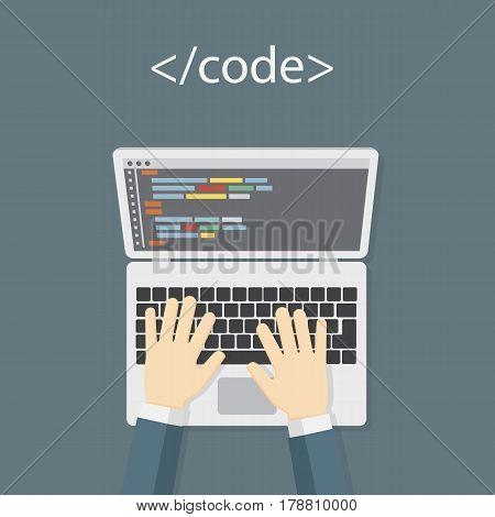 Programmer Working On Laptop. Writing Programming Code On Laptop