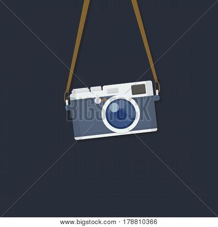 Hanging Vintage Camera. Flat Vintage Camera Illustration