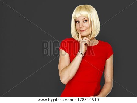 Caucasian Blonde Female Posing Adorable