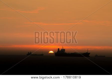 Nice sunset with ships in the background