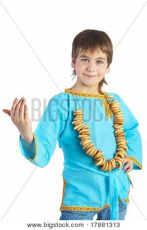 The Boy In Russian National Shirt C With A Bread Ring