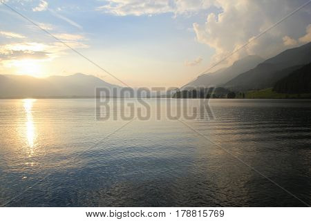 Travel To Sankt-wolfgang, Austria. The View On The Lake With The Mountains On The Background In The