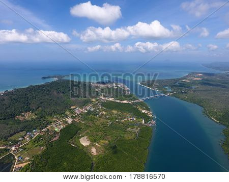 Aerial view on estuaries and strait on Koh Lanta island, Thailand