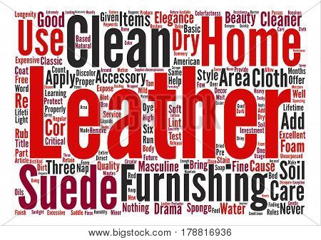 Leather Home Furnishings How to Clean and Care for Them text background word cloud concept