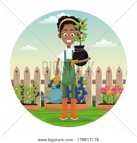 african woman farmer plant and water can garden fence vector illustration eps 10