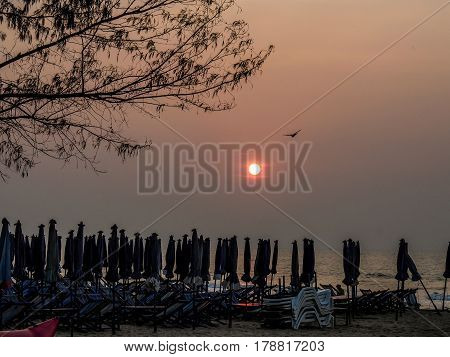 At the crack of dawn by the beach at Hua Hin, Thailand