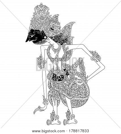 Basuketi, a character of traditional puppet show, wayang kulit from java indonesia.