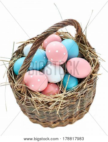 Easter Eggs Basket Painted Pink Blue Peas Isolated