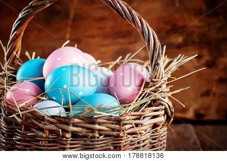 Eggs Painted With Peas In The Basket