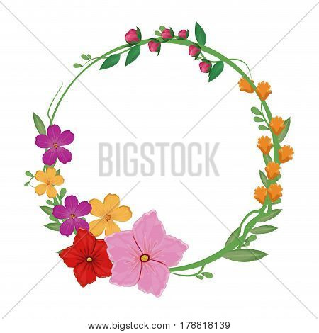flowers spring crown decoration vector illustration eps 10