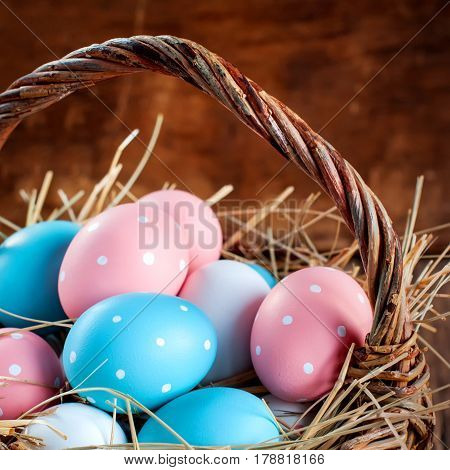 Easter Colored Eggs In The Basket, Toned