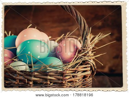Easter Colored Eggs In Basket