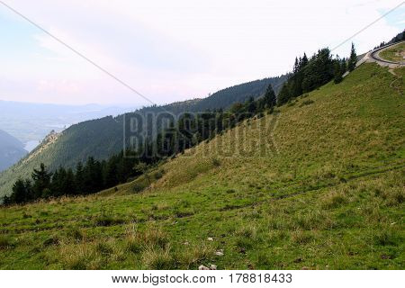 Travel To Sankt-wolfgang, Austria. The Road With View On The Mountains And A Lake.