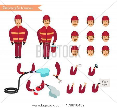 Set for animation of firefighter in uniform protective suit with axe fire hose cartoon vector illustration isolated on white background. Young firefighter fireman set.