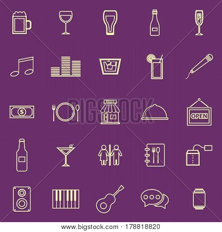 Bar color line icons on purple background, stock vector