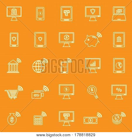 Online banking line color icons on orange background, stock vector