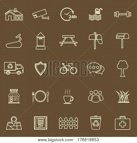 Village line color icons on brown background, stock vector