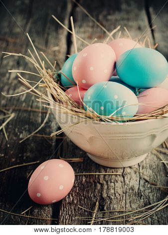 Easter Eggs Colored With Peas In A Bowl
