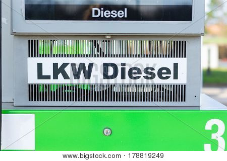 german truck diesel sign on gasoline pump