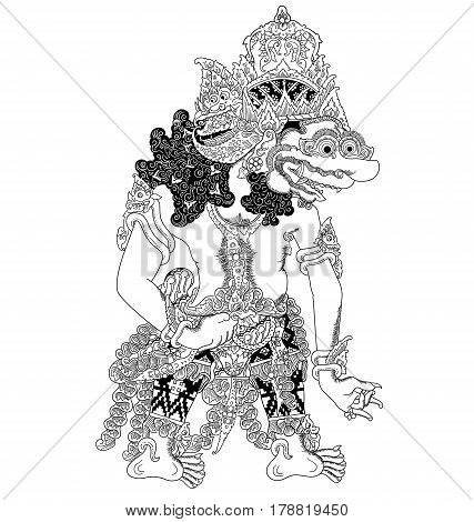 Baka, a character of traditional puppet show, wayang kulit from java indonesia.