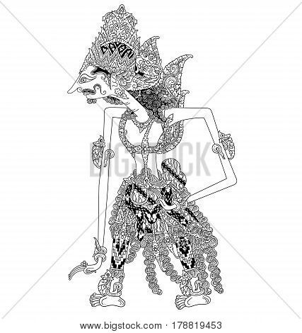 Baladewa, a character of traditional puppet show, wayang kulit from java indonesia.