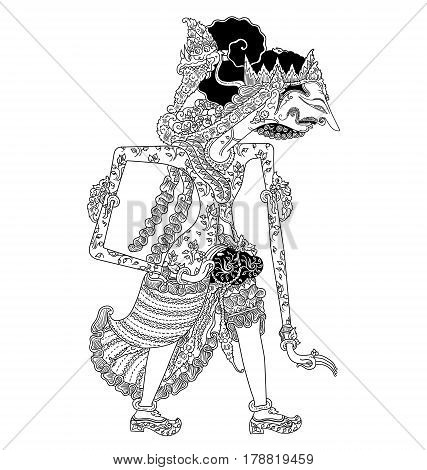 Baratmadya, a character of traditional puppet show, wayang kulit from java indonesia.