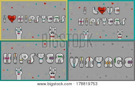 Cards with inscriptions about hipsters. I love hipsters. Vintage font. Gray retro letters with colorful ties. Retro heart with black mustache. Cartoon hipster hands. illustration