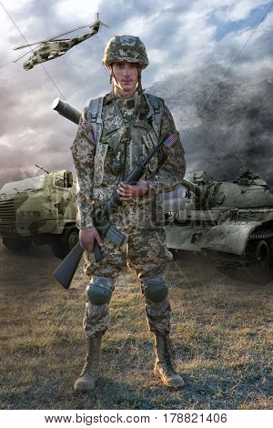 Soldier and military machinery on battlefield