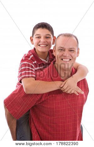 Portrait of a Hispanic Father and son.