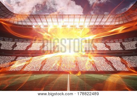 Ball of fire against large football stadium with fans 3d