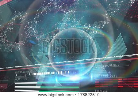 Blue and black technology design against genes diagram on darkred background 3d