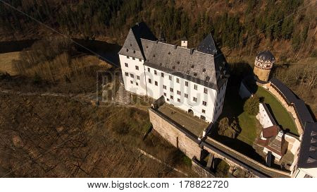 The Castle Burgk in Germany aerial view historical
